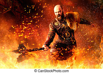 Viking with axe standing in fire, battle in action - Angry ...
