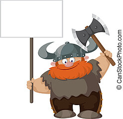 viking with blank sign