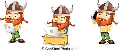Viking with laptop mascot