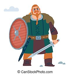 Viking with shield and sword. Vector flat illustration.