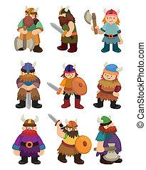viking, zeerover, set, pictogram, spotprent