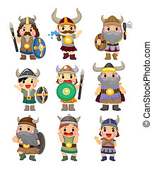 viking, zeerover, set, spotprent, pictogram