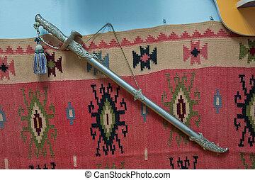 viking, zwaard, middeleeuws, azerbaijan, koude, staal, lemmet, ., oud, azerbaijan, militair, zwaard, ., knippend pad, is, included, ., ouderwetse , saber, papiersnijder