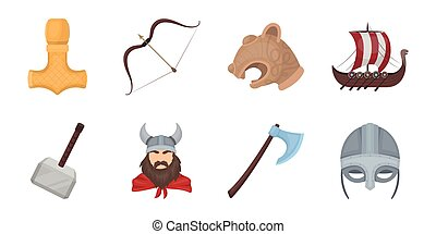 Vikings and attributes icons in set collection for design.Old Norse Warrior vector symbol stock web illustration.