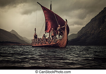Vikings are floating on the sea on Drakkar with mountains on...