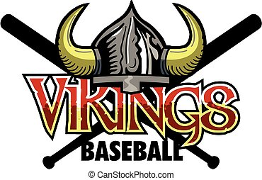 vikings baseball team design with helmet and crossed bats for school, college or league