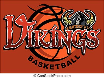 vikings basketball team design with helmet for school, college or league