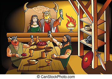 Vikings feast - King and Queen of ancient Scandinavia...