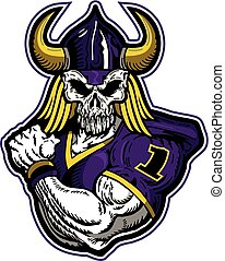 muscular viking football player with skull face for school, college or league