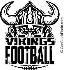 vikings football team design with half mascot for school, ...