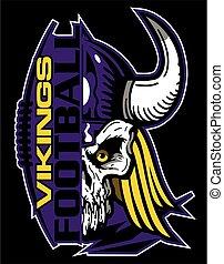 vikings football team design with half mascot skull and...