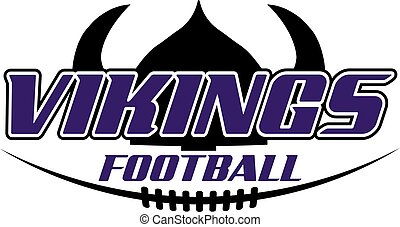 vikings football team design with helmet and laces for school, college or league
