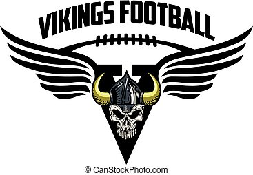 vikings football team design with helmet skull for school,...