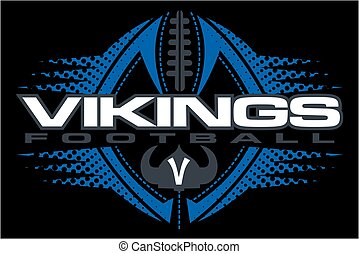 vikings football team design with horned helmet and ball for...