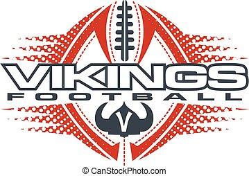 vikings football team design with horned helmet and ball for...
