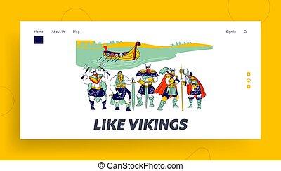 Vikings Landing Page Template. Male Characters Wearing Skins...