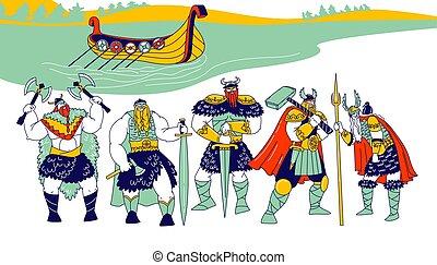 Vikings Male Characters Wearing Skins, Helmets with Horns ...