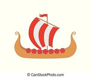 vikings, -, nordique, mer, bateau, drakkar