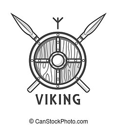 Vikings shield with two crossed spears and small rune - ...