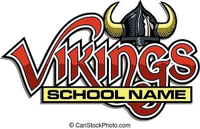 vikings team design in script with helmet for school, college or league