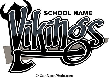 vikings team design with axe and helmet for school, college...