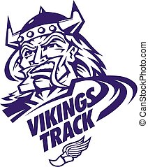 vikings track and field team design with heroic mascot head...
