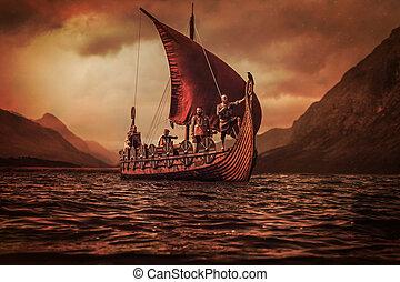 vikings, vannak, úszó, képben látható, a, tenger, képben látható, drakkar, noha, hegyek, képben látható, a