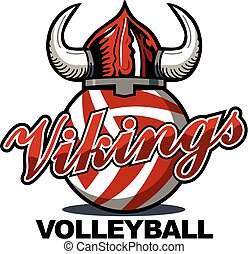 vikings volleyball team design with ball and net for school, college or league