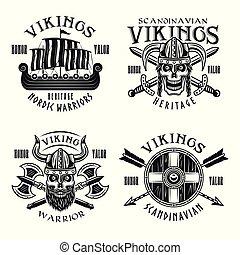 Vikings warriors vector emblems, labels, badges