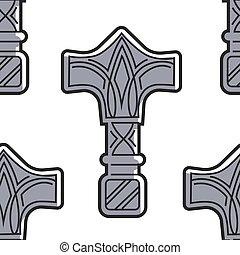 Vikings weapon seamless pattern Mjolnir hammer of Thor
