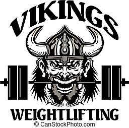 vikings weightlifting team design with mascot holding...
