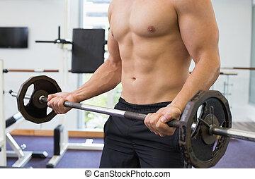 vikt, shirtless, bodybuilder, tung, lyftande, barbell