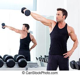 vikt, sport, man, utrustning, gymnastiksal, utbildning