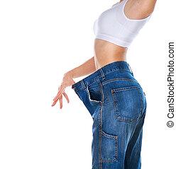 viktförlust, kvinna, isolerat, på, a, vit, bakgrund., magra,...