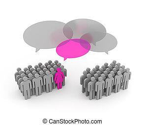 viktigt, opinion., kvinnlig, riktad