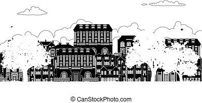 viktoriánus, épület, körvonal, grúz, evez, utca