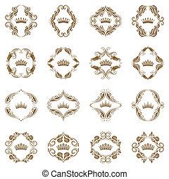 viktorian, elements., dekorativ, krona