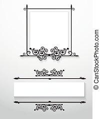viktorian, frames., ornamental, vector.