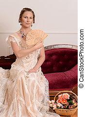 viktoriansk kvinna, fan, couch