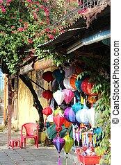 világító, hoi, színes, vietnam