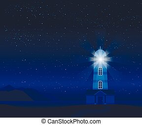 világítótorony árnyalak, táj, tenger, éjszaka