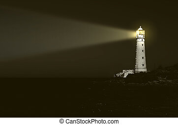 világítótorony, éjszaka