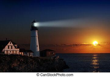 világítótorony, -ban, hajnalodik