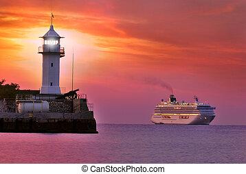 világítótorony, félhomály, hajó, piros