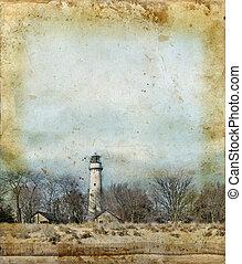 világítótorony, képben látható, egy, grunge, háttér