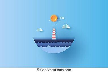 világítótorony, világos, úszó, nyár, poszter, sky., vitorlázás, mód, summertime idő, művészet, kilátás, világítás, vektor, season., hajó, dolgozat, nap, csónakázik, shadow., karika, print., kék, tenger, eps10, táj