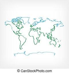 világ, ökológia, rajz, térkép