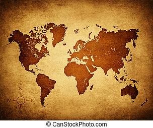világ, öreg, térkép
