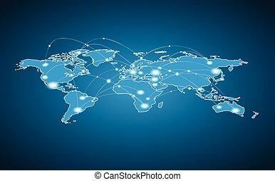világ, összeköttetés, globális, -, térkép