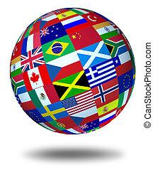 világ, úszó, zászlók, gömb